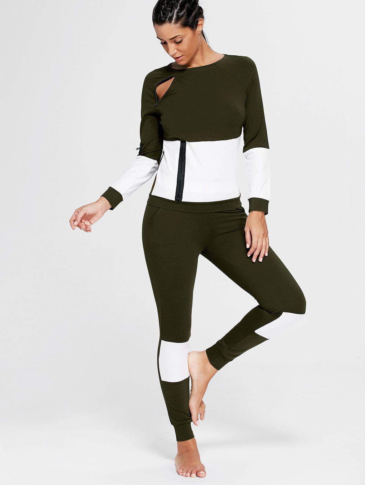 Color Block Zip Sweatshirt and Skinny Joggers - DEEP GREEN S