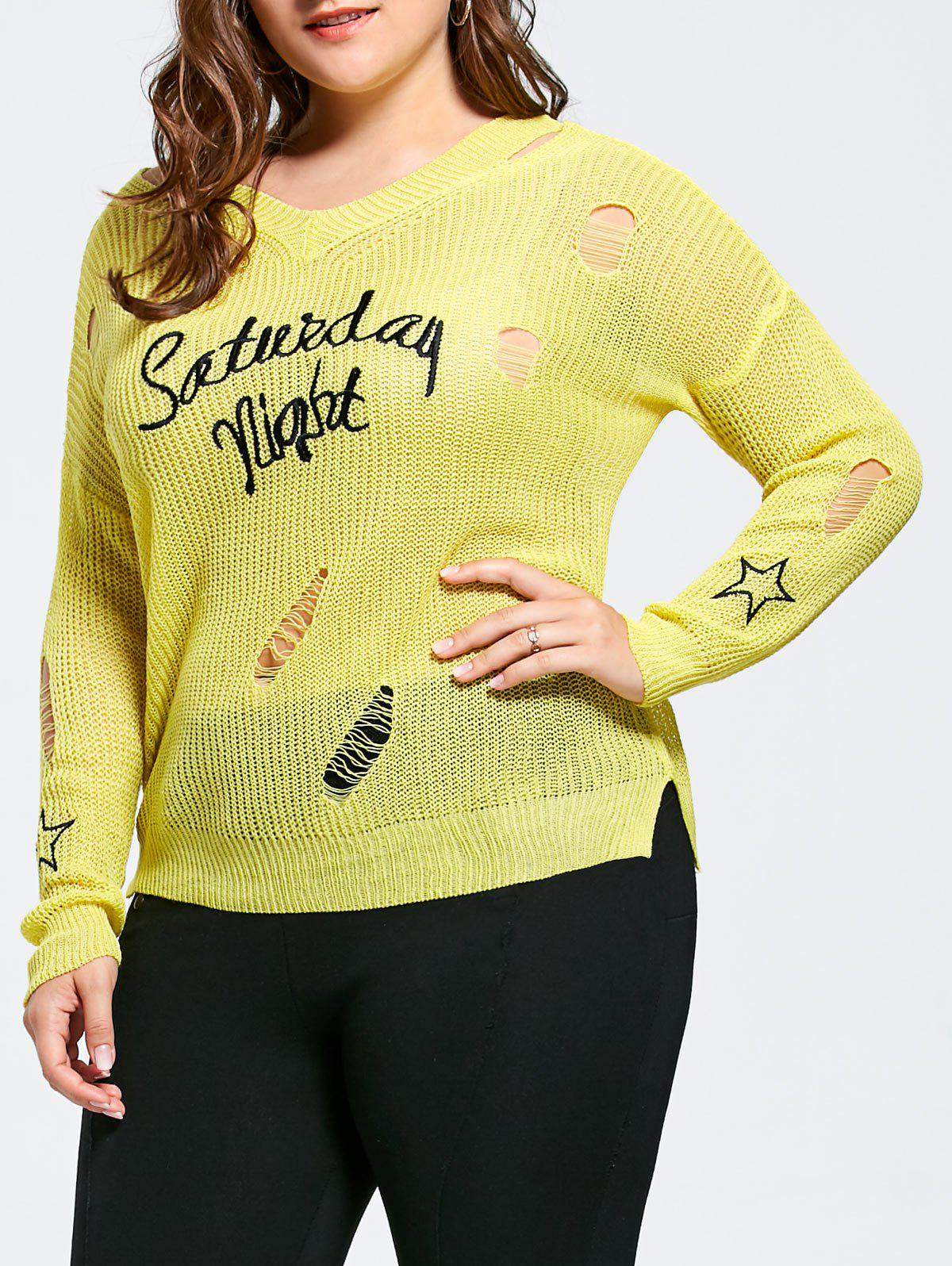 Plus Size Graphic Sheer Ripped Crochet Sweater, YELLOW, ONE SIZE ...
