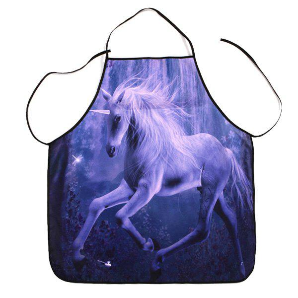 Kitchen Waterproof Apron with Unicorn Print - PURPLE 80*70CM