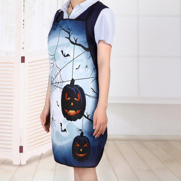 Household Kitchen Halloween Theme Print Apron - DEEP BLUE 80*70CM