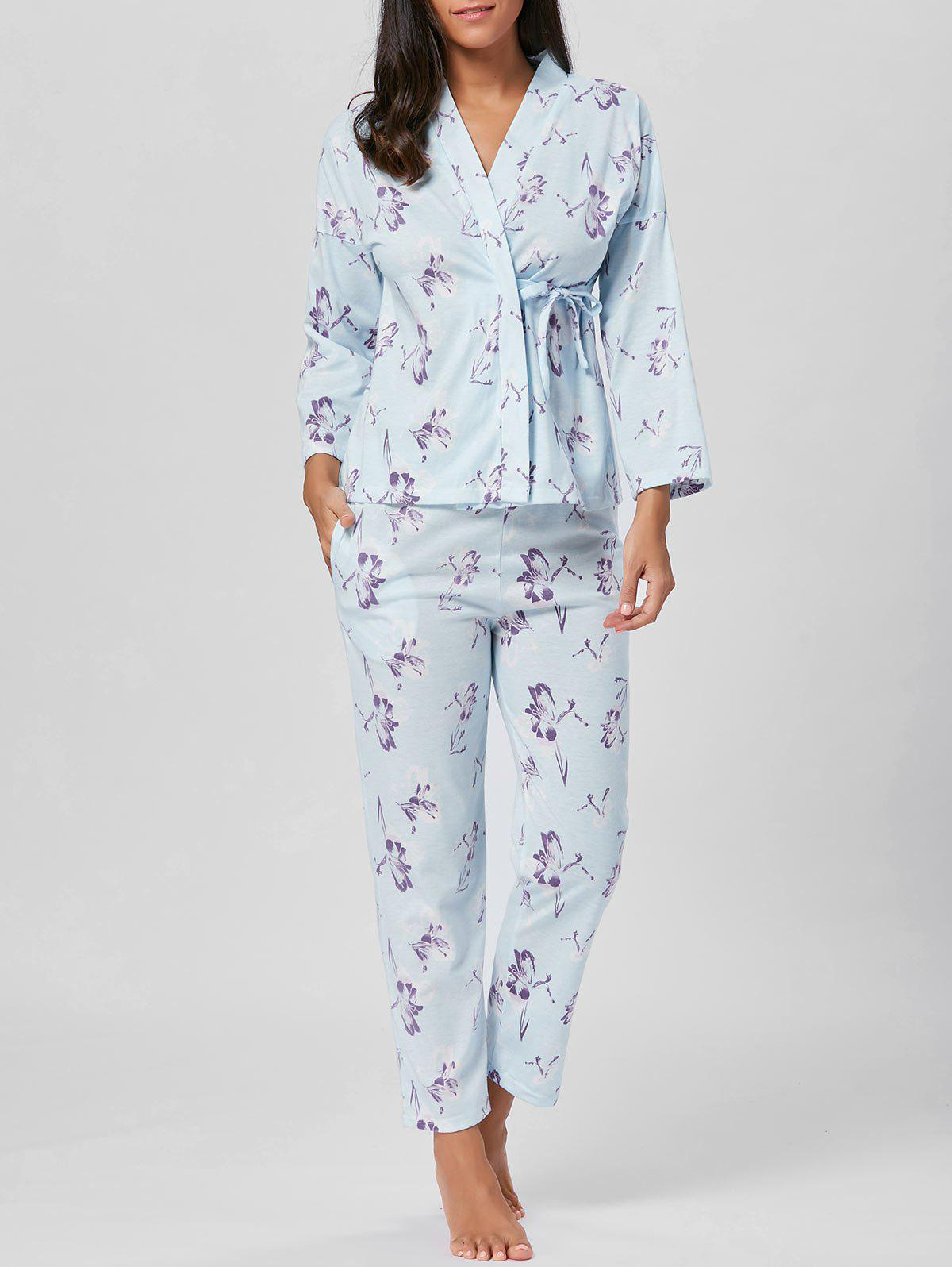 Cotton Wrap Floral Kimono PJ Set - LIGHT BLUE XL