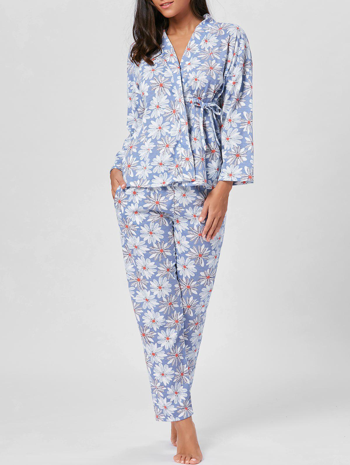 Floral Cotton Wrap Sleepwear Set - FLORAL M
