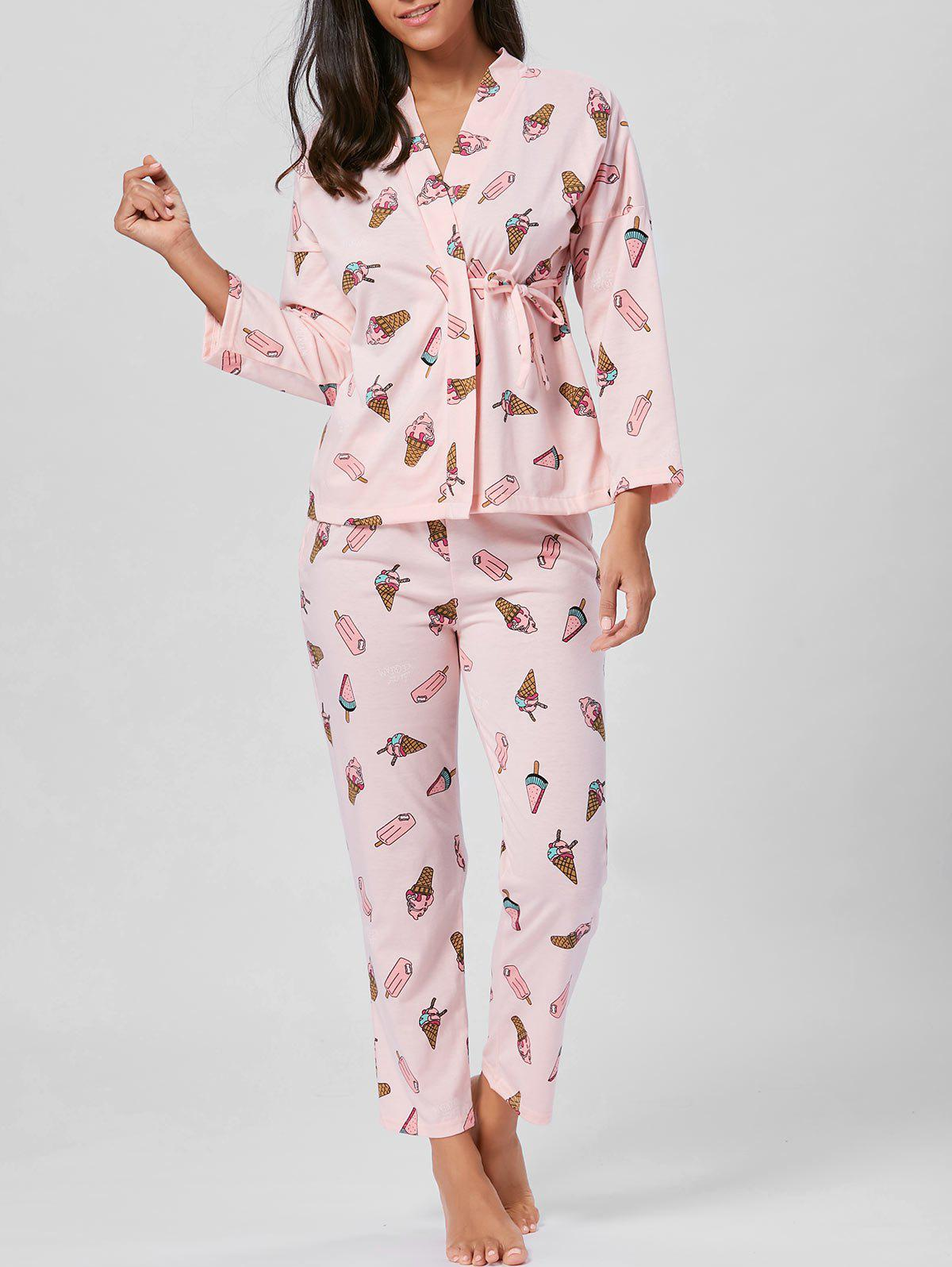 Ice Cream Print Wrap Cotton PJ Set - LIGHT PINK 2XL