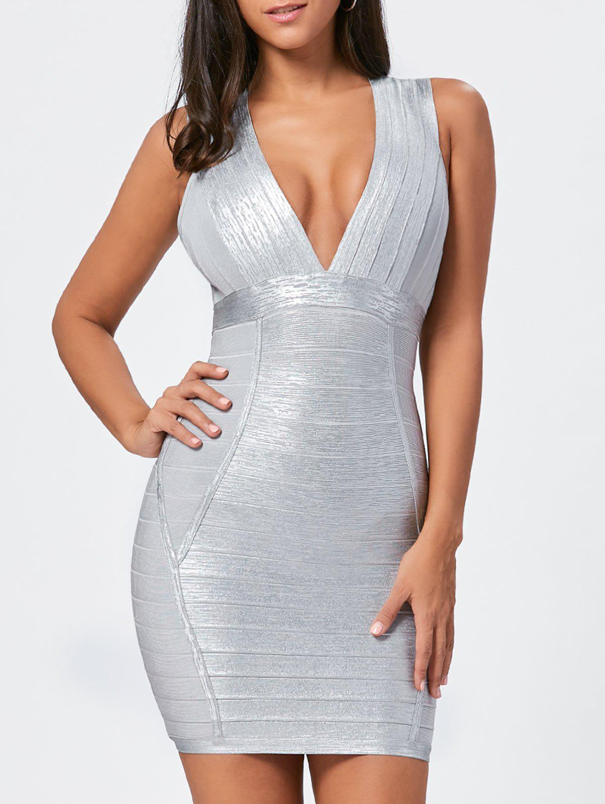 Plunging Neck Metallic Bandage Dress - SILVER M