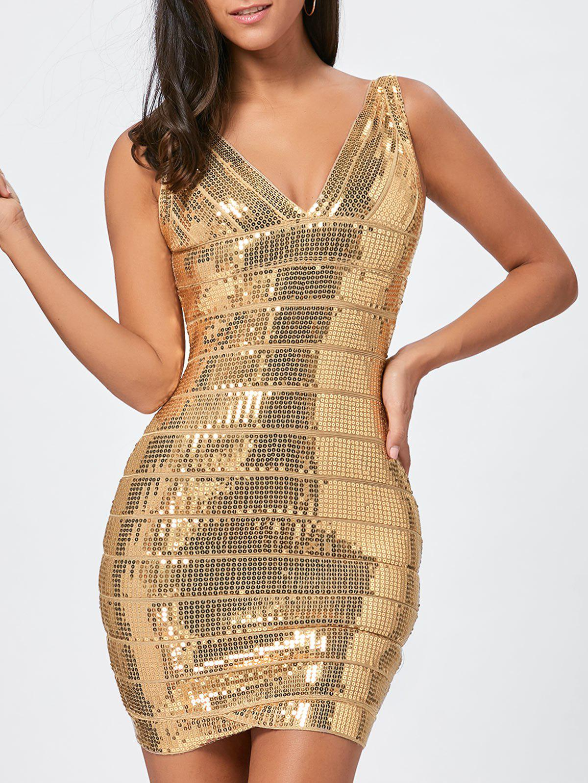 Glitter Sequins Bandage Dress - GOLDEN L