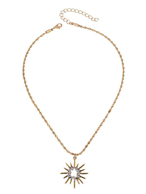 Barbed Hollow Sun Pendant Necklace - GOLDEN