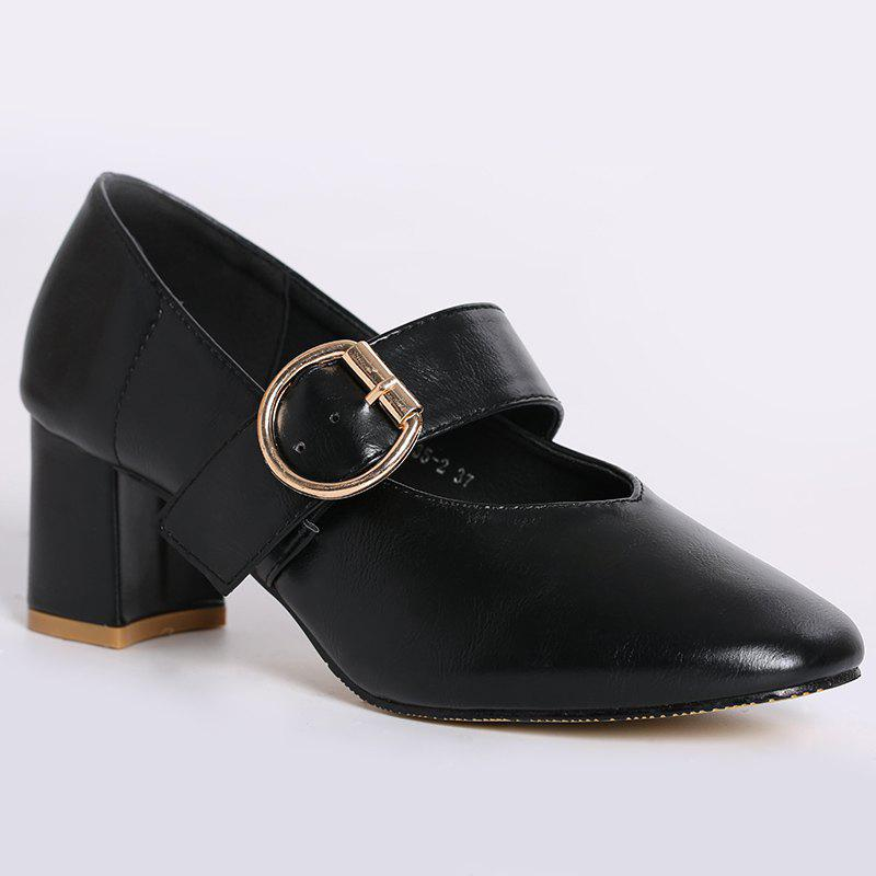 Mary Jane Square Toe Pumps - BLACK 37