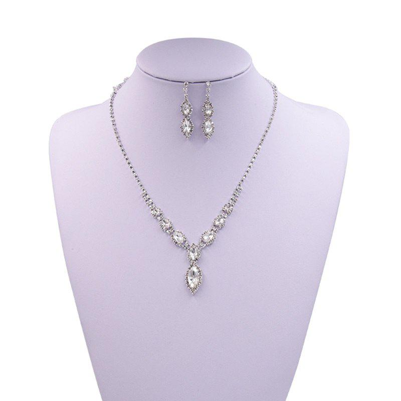 Rhinestones Infinity Necklace and Earrings - WHITE