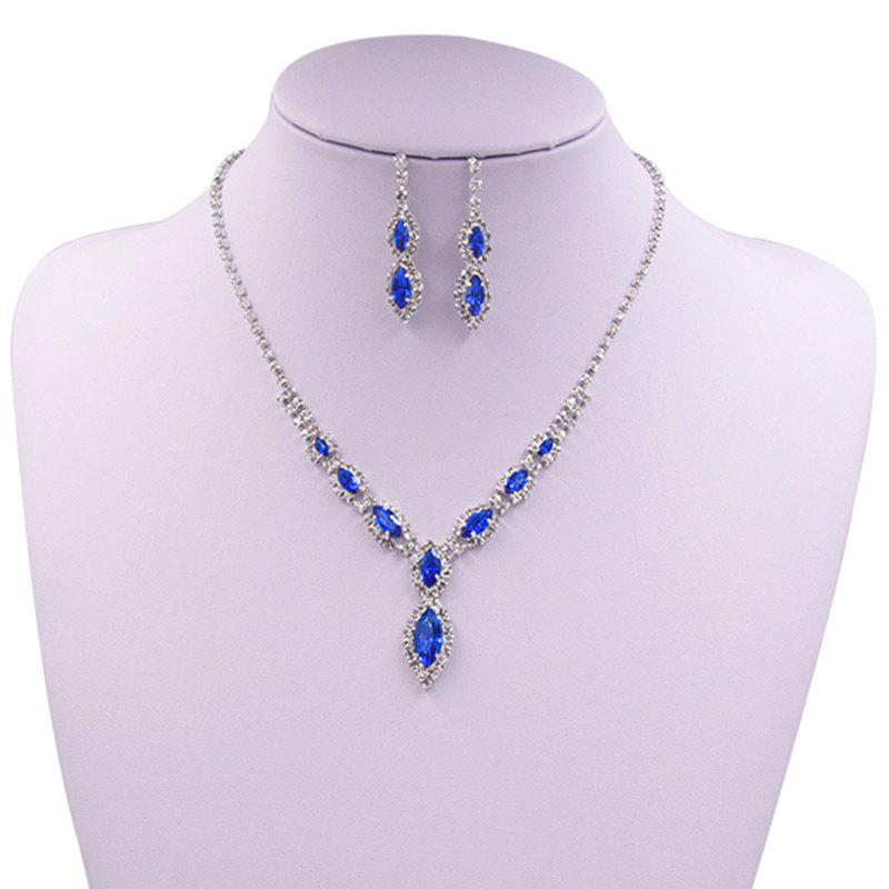 Rhinestones Infinity Necklace and Earrings - BLUE