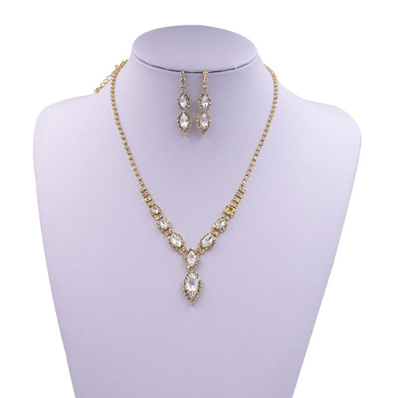 Rhinestones Infinity Necklace and Earrings - GOLDEN