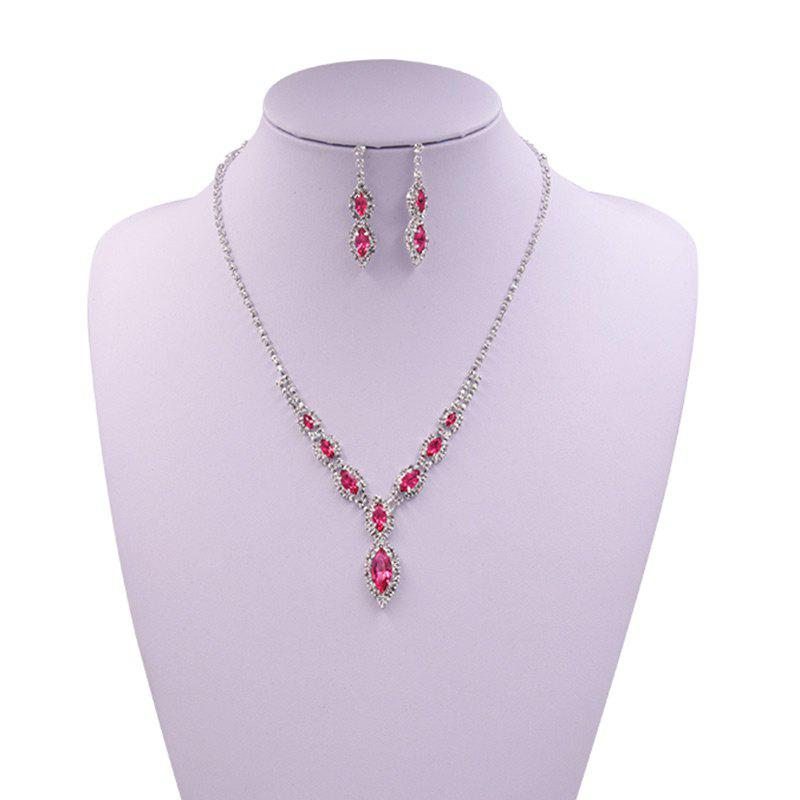 Rhinestones Infinity Necklace and Earrings - PINK