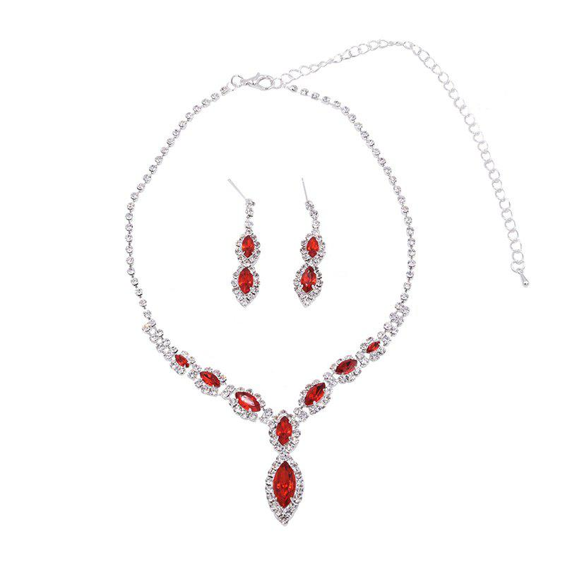 Rhinestones Infinity Necklace and Earrings - RED