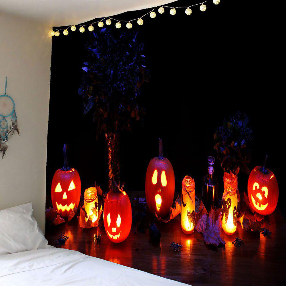 Halloween Night Pumpkin Light Wall Waterproof Tapestry - COLORFUL W59 INCH * L59 INCH