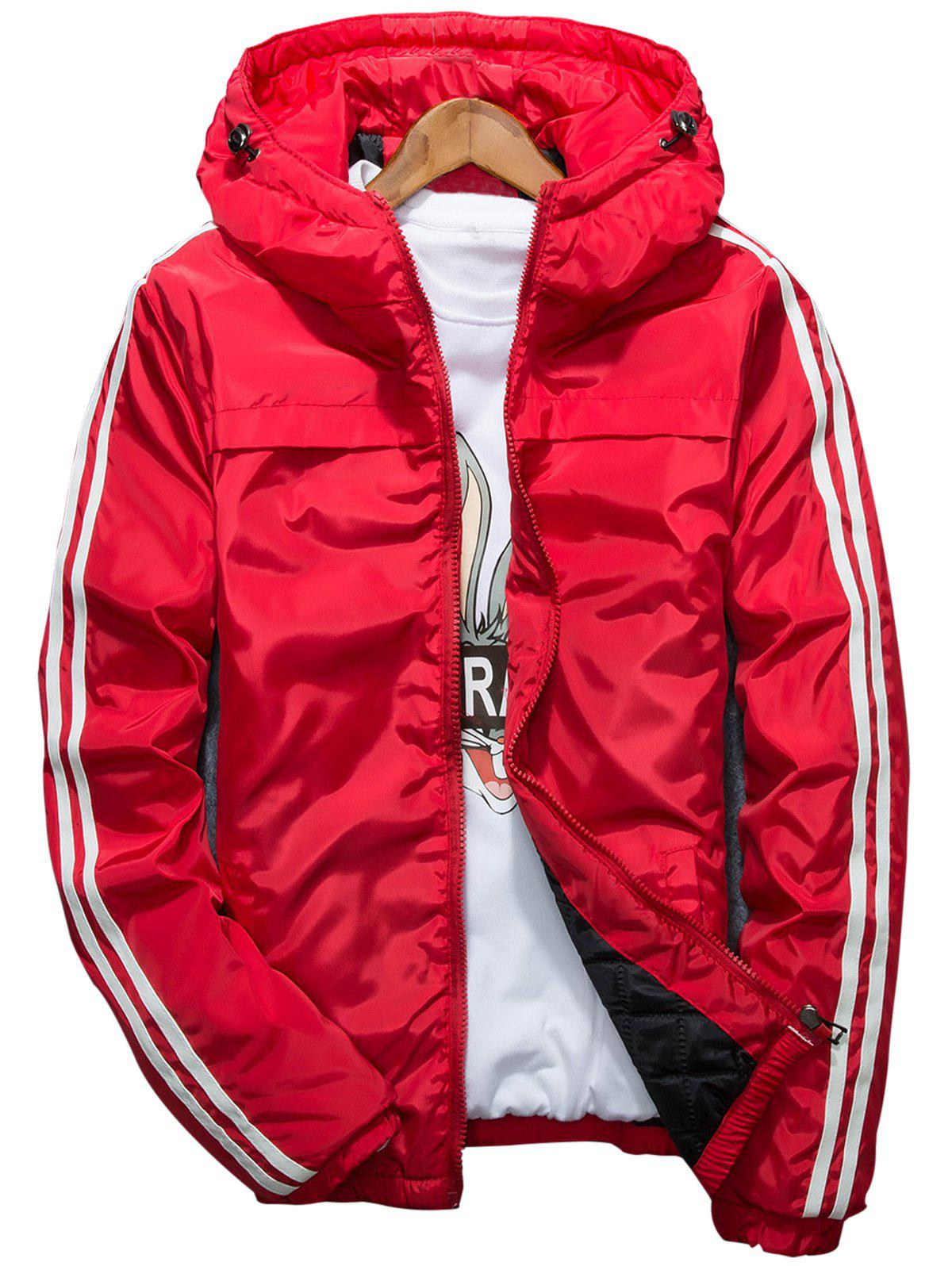 Stripe Hooded Zip Up Down Jacket - RED 2XL