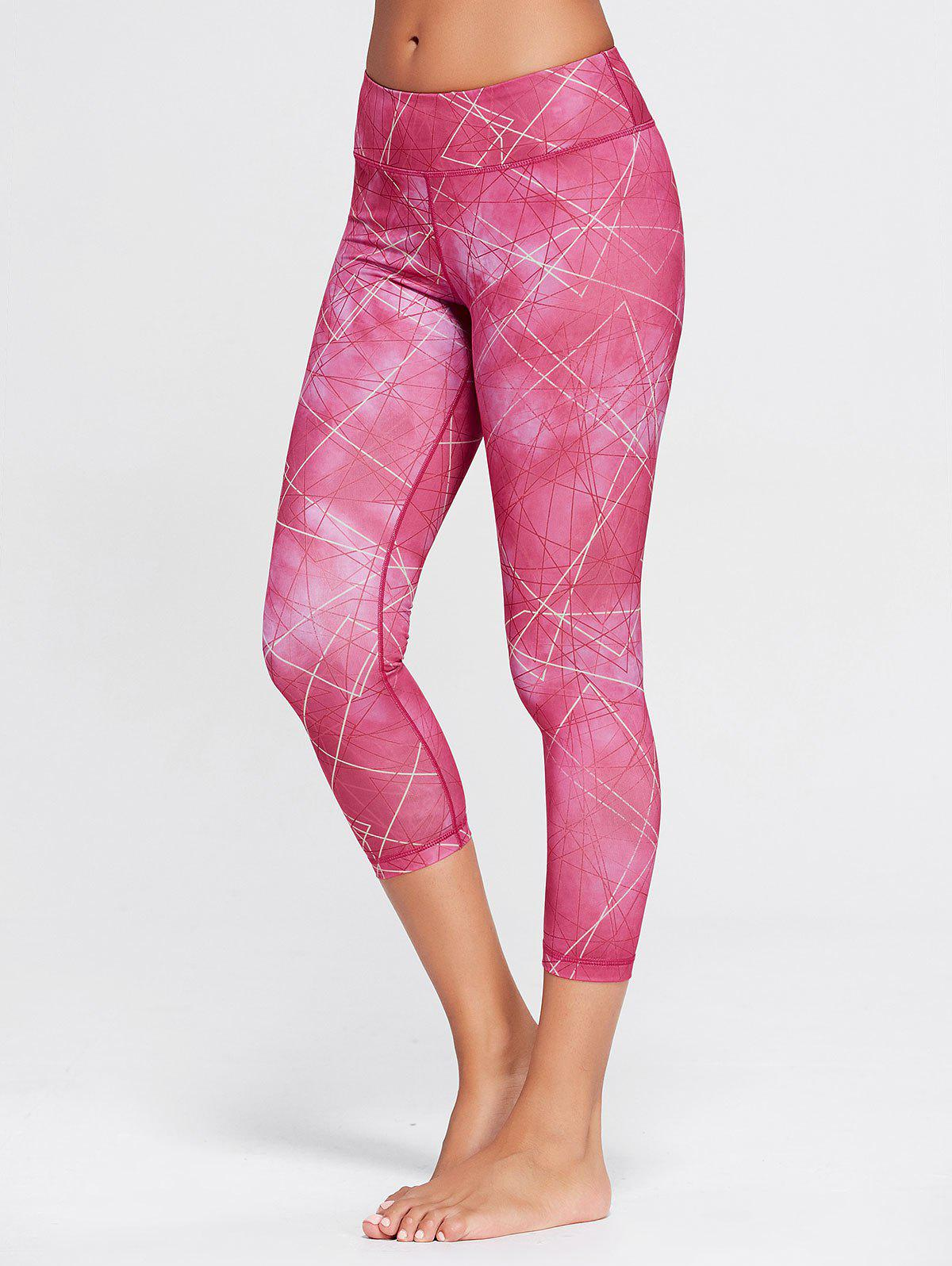 Printed Capri Workout Tights With Pocket - TUTTI FRUTTI L