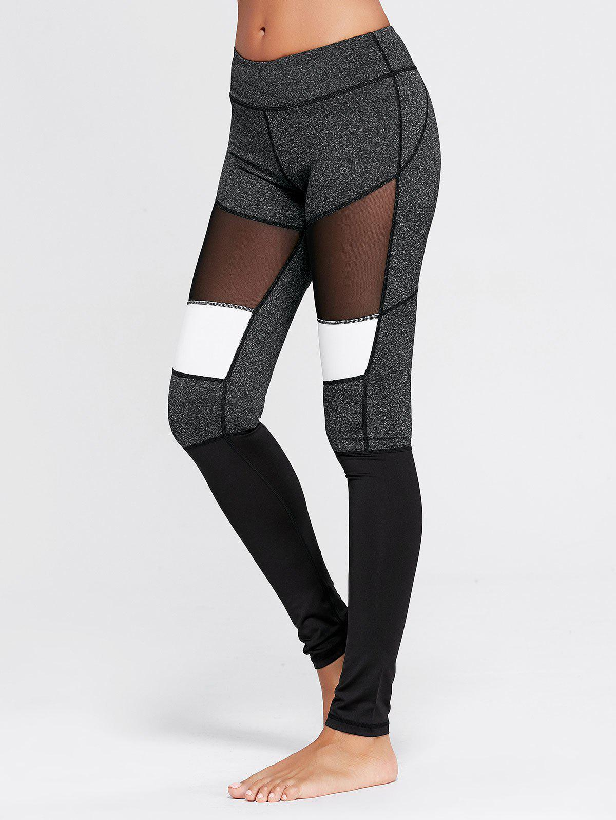 Two Tone Workout Leggings with Mesh - GRAY M