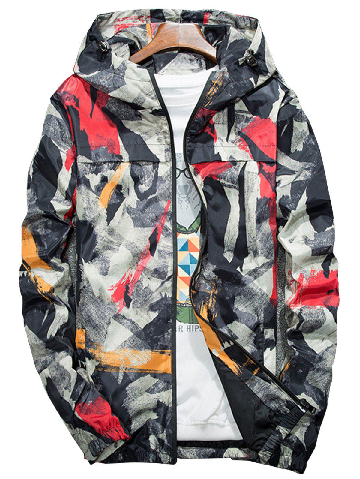 Splatter Paint Camouflage Lightweight Jacket, RED, L in Jackets ...