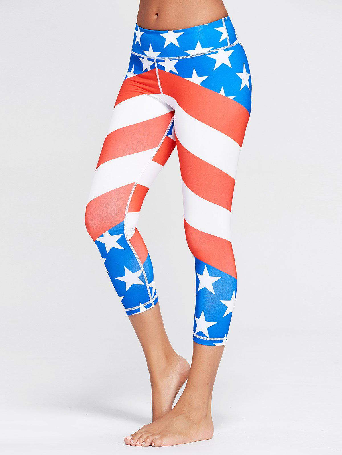 American Flag Patriotic Workout Leggings - BLUE M