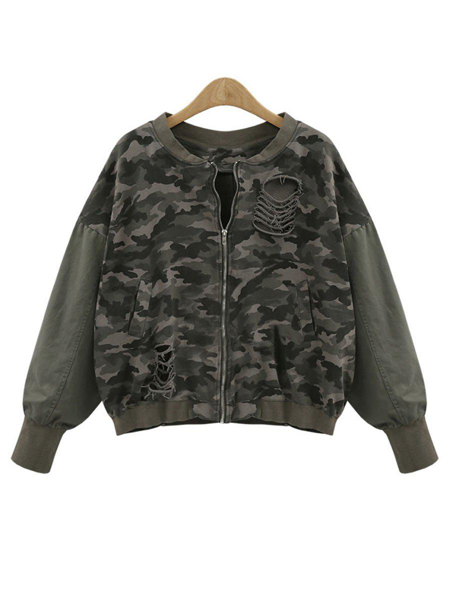 Camouflage Distressed Plus Size Zip Up Sweatshirt духи dior miss cherie edp 5mlq