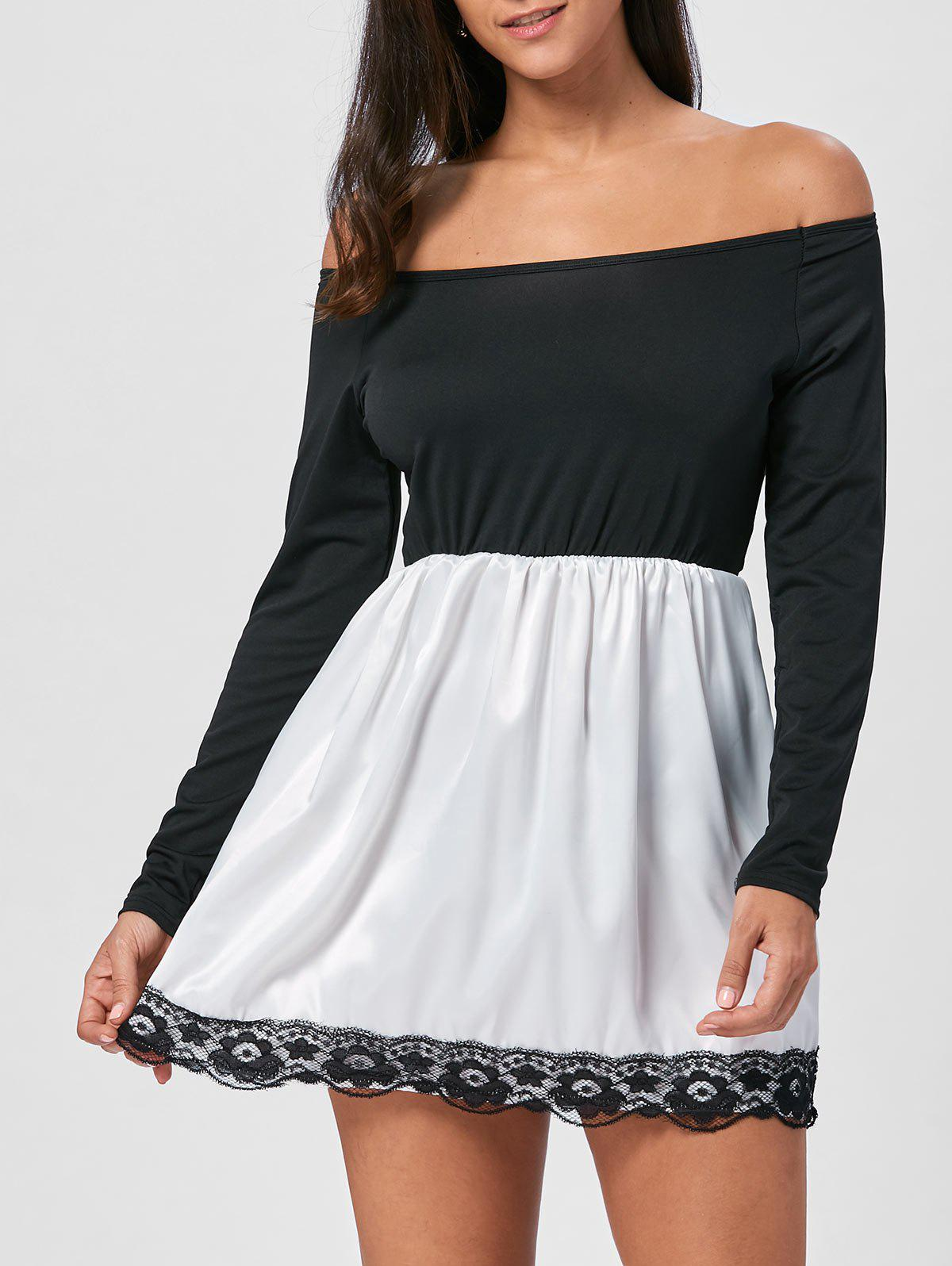 Off The Shoulder Cocktail Dress - BLACK L