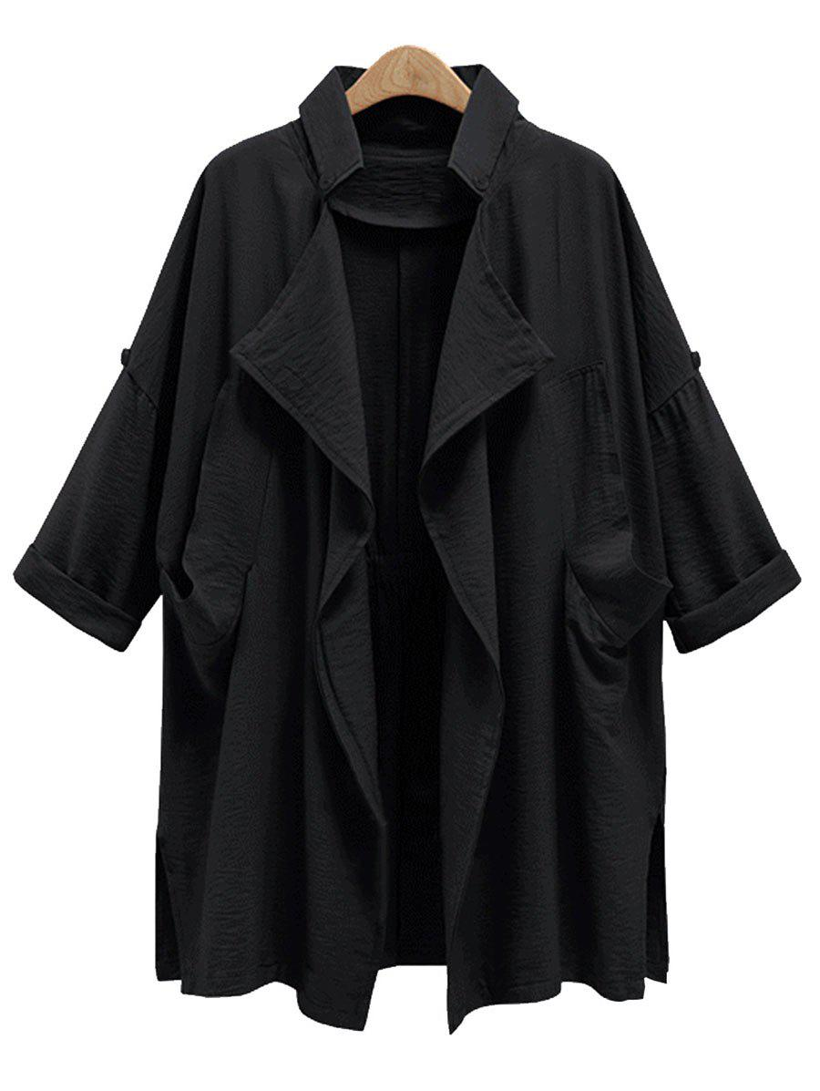 Drape Front Plus Size Trench Coat drape front belted skater suede coat