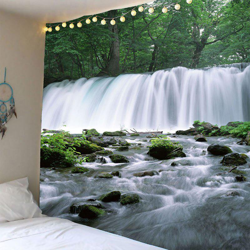 Waterfall Trees Waterproof Hanging Tapestry - GREEN W71 INCH * L71 INCH