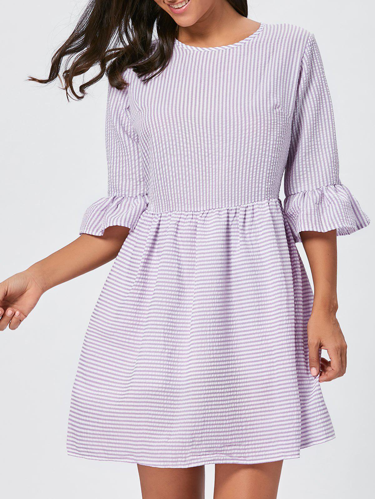Flounce Sleeve Seersucker Striped Dress - PURPLE XL