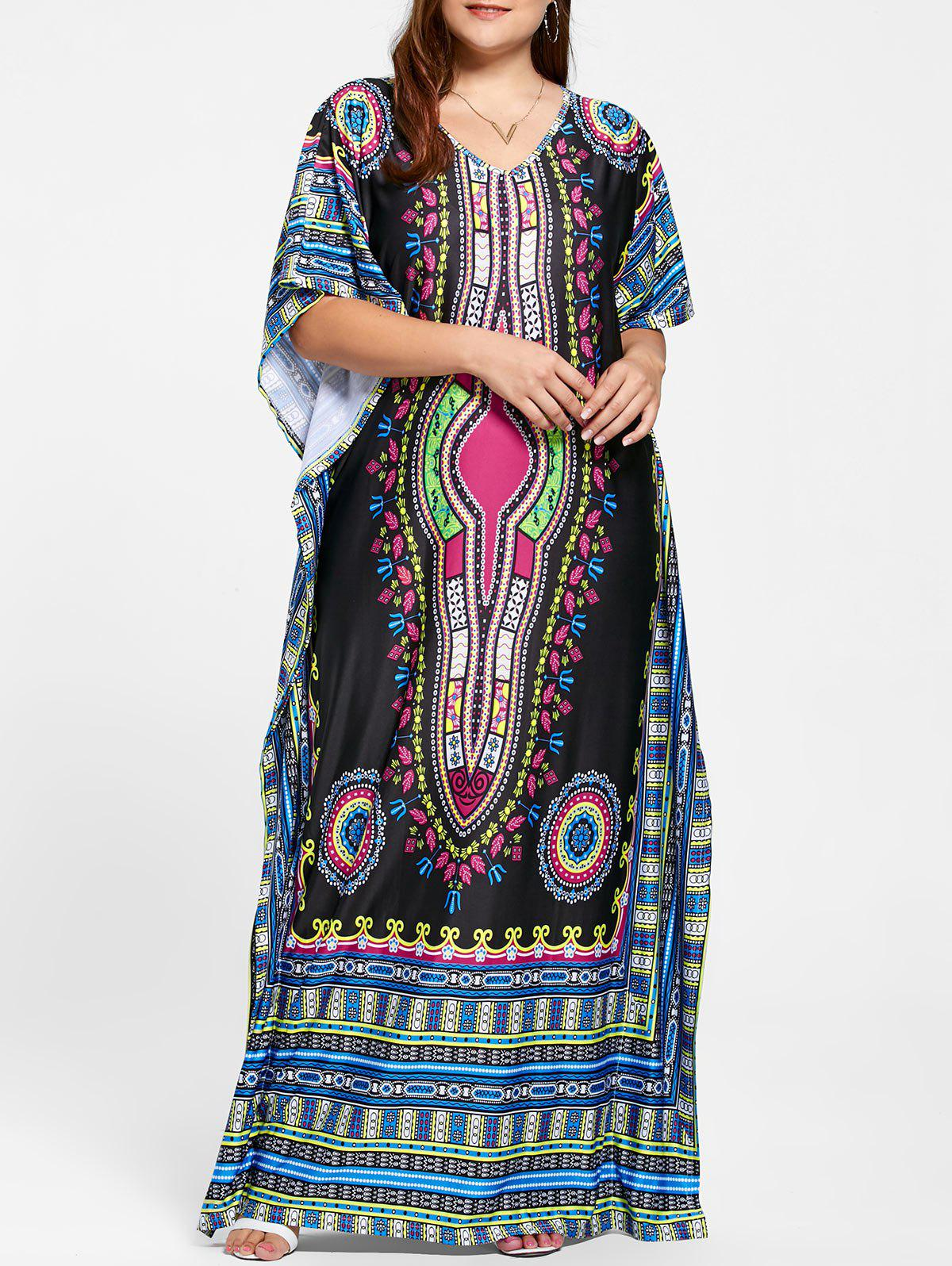 V Neck Tribal Print Plus Size Long Dress - BLACK ONE SIZE