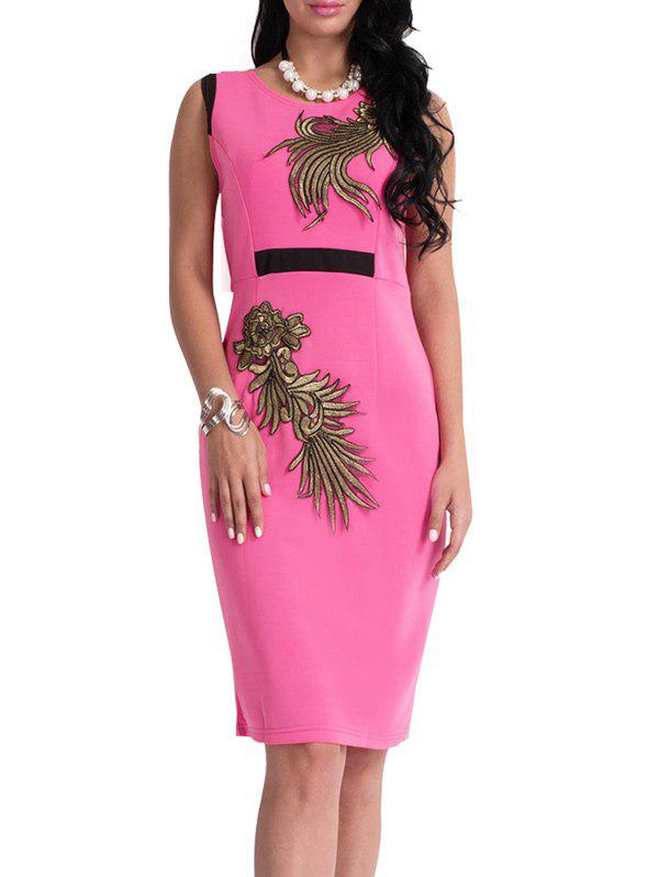 Floral Patch Bodycon Knee Length Dress - TUTTI FRUTTI L