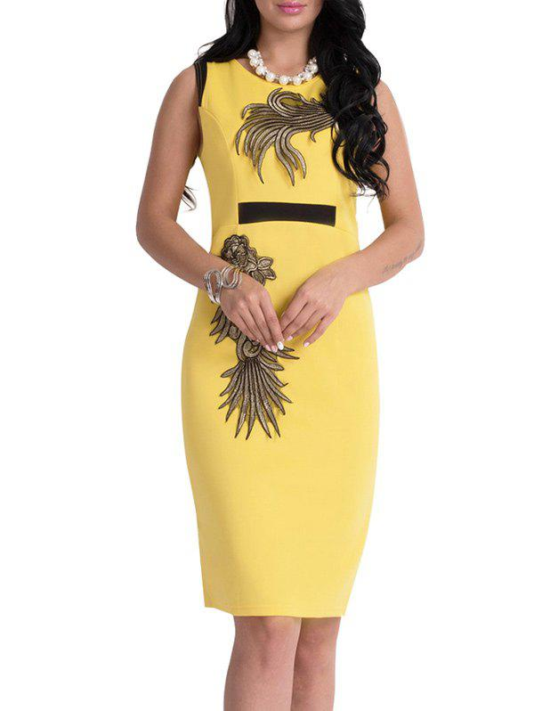 Floral Patch Bodycon Robe Longueur au genou - Jaune L