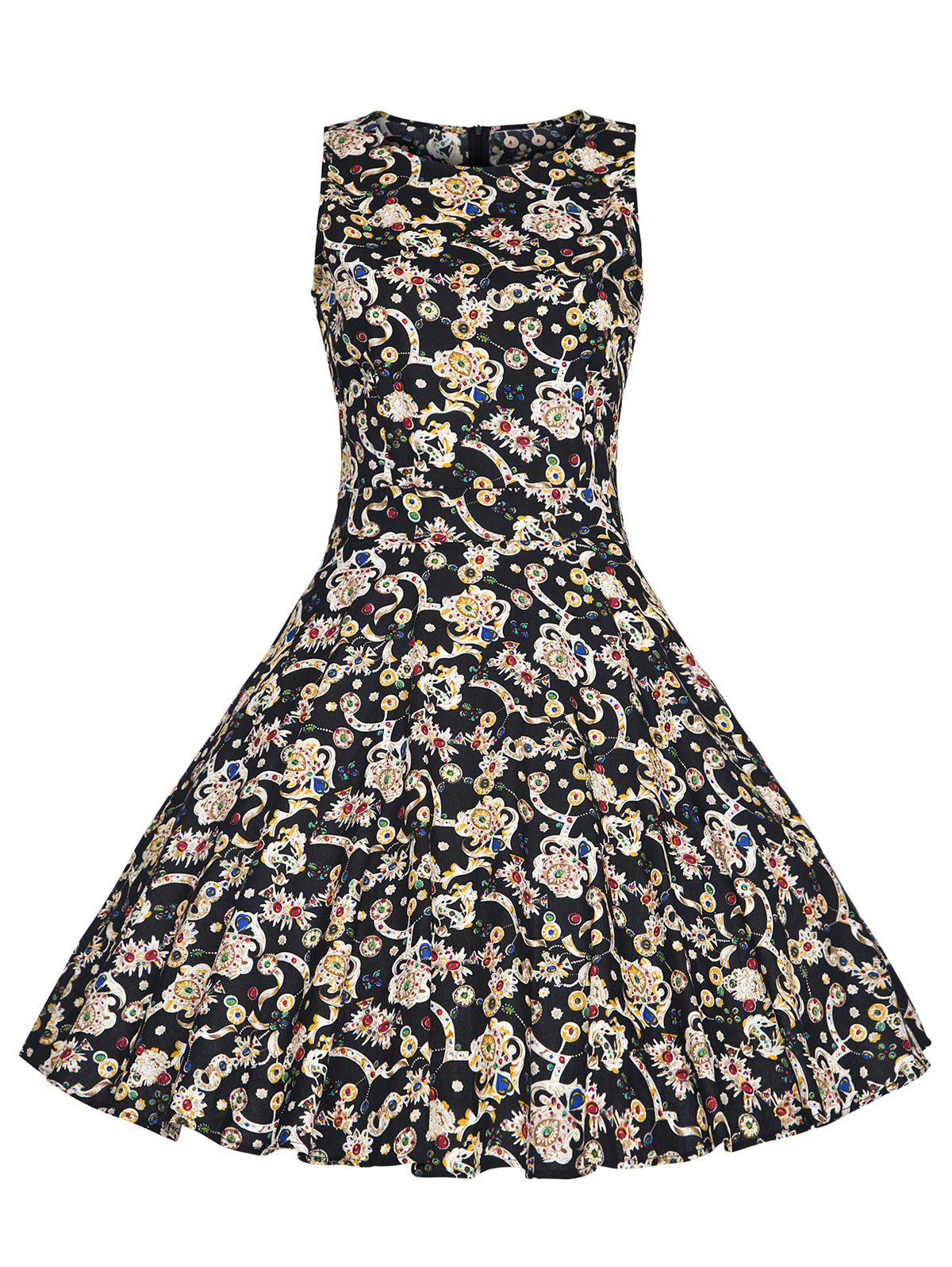 Print High Waist Plus Size Vintage Dress - BLACK 3XL