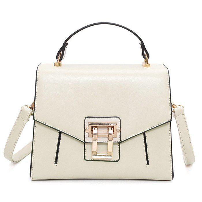 Faux Leather Rivets Metal Embellished Handbag - Blanc Cassé