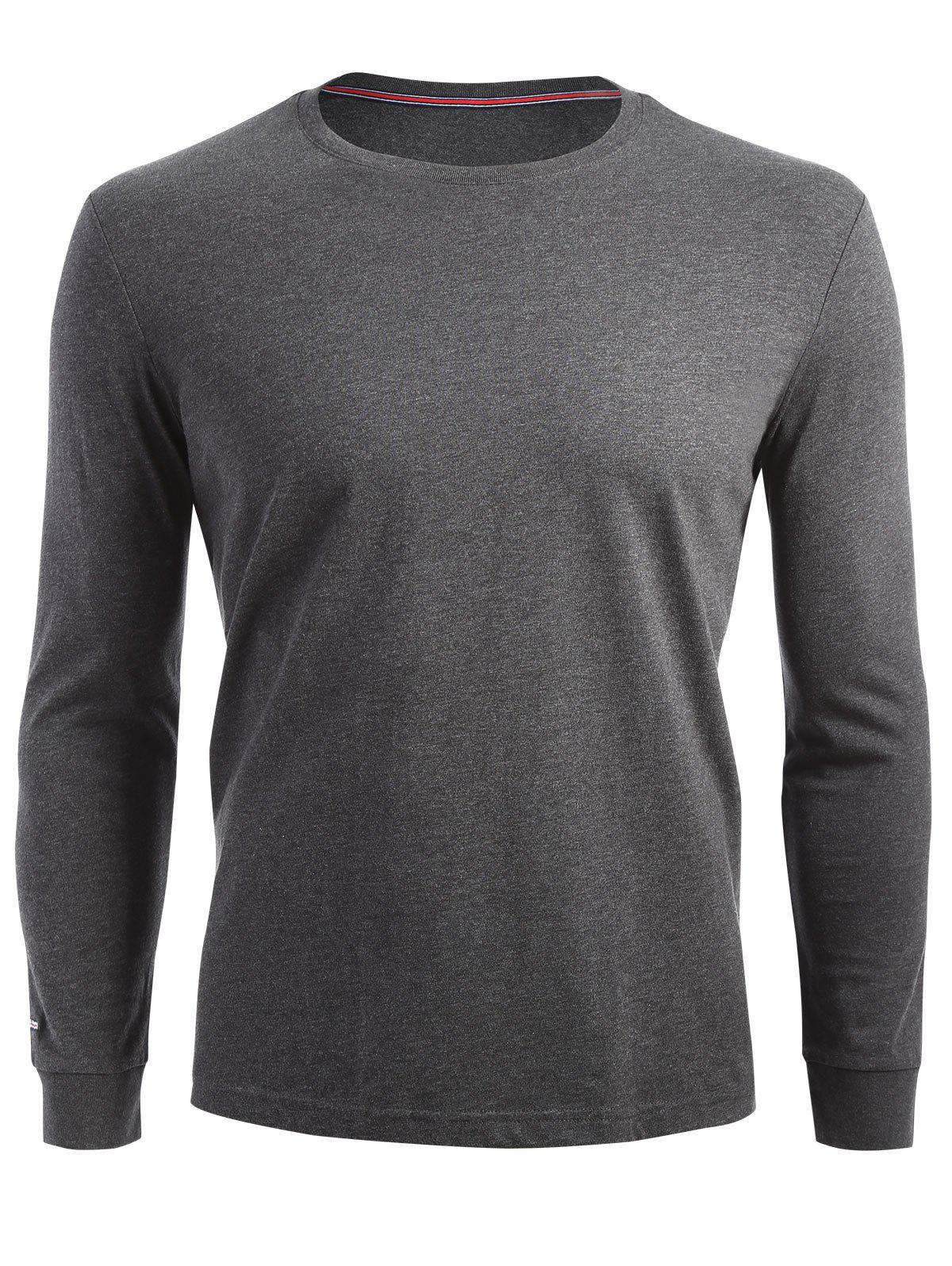 Stretch Long Sleeve T-shirt - DARK HEATHER GRAY 2XL