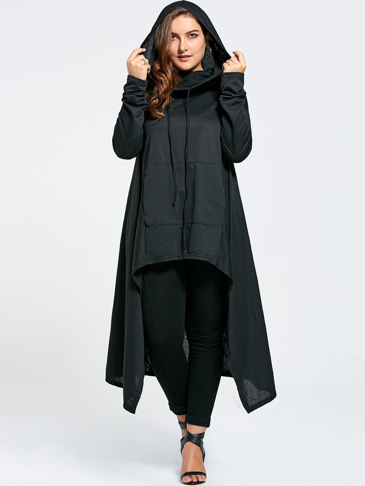 Plus Size Funnel Collar Maxi Asymmetric Hoodie plus size funnel collar maxi asymmetric hoodie