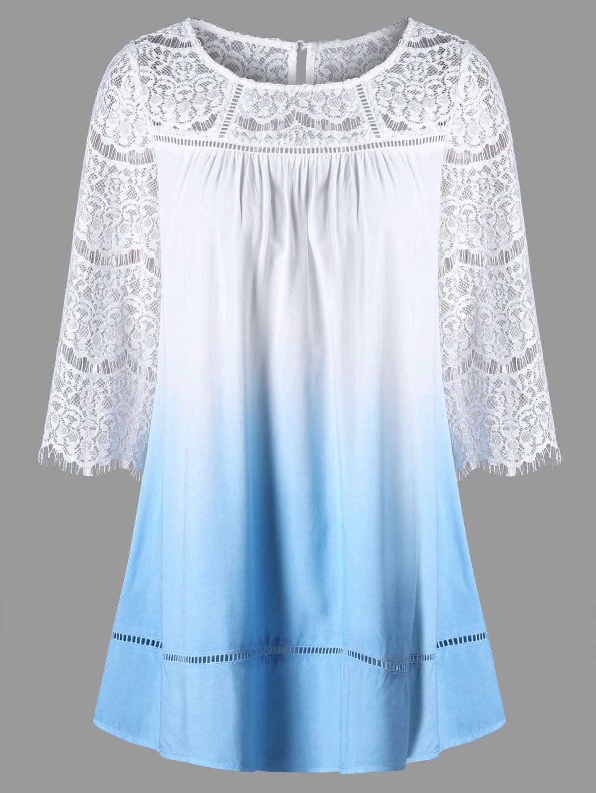 Lace Yoke Ombre Tunic Top - Nuageux L