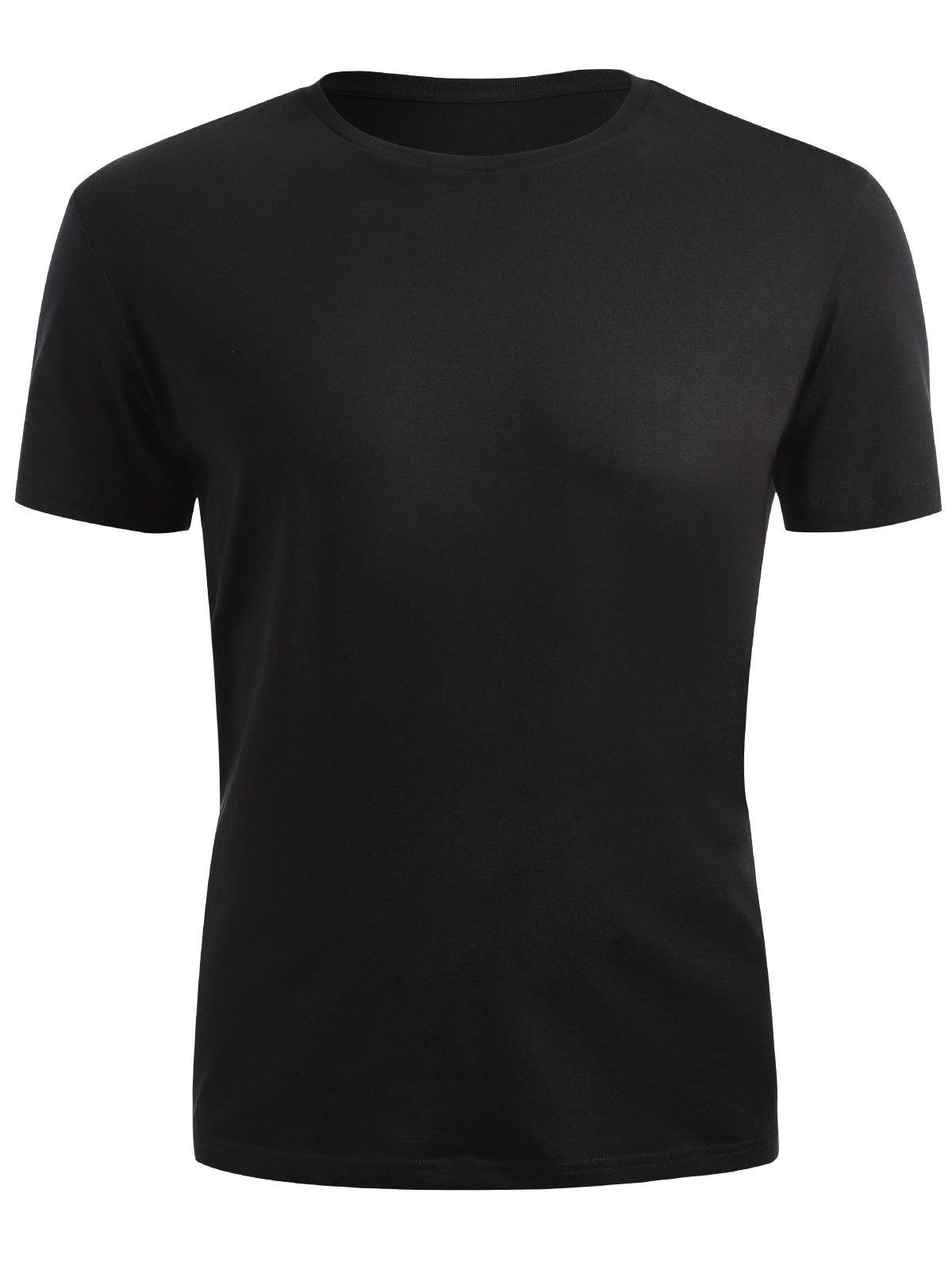 Ribbed Neck Short Sleeve T-shirt - BLACK L
