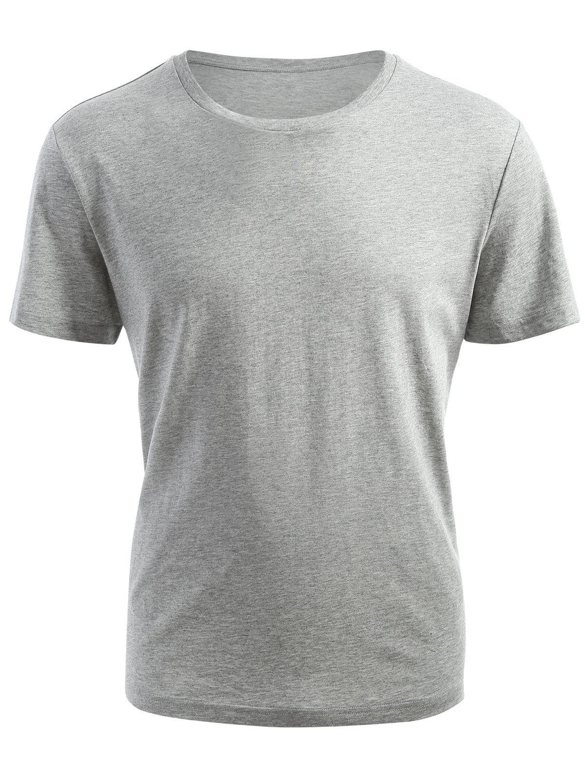 Ribbed Neck Short Sleeve T-shirt - GRAY 2XL
