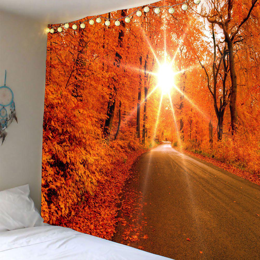 Sunlight Maple Trees Road Waterproof Wall Hanging Tapestry - RED W71 INCH * L71 INCH