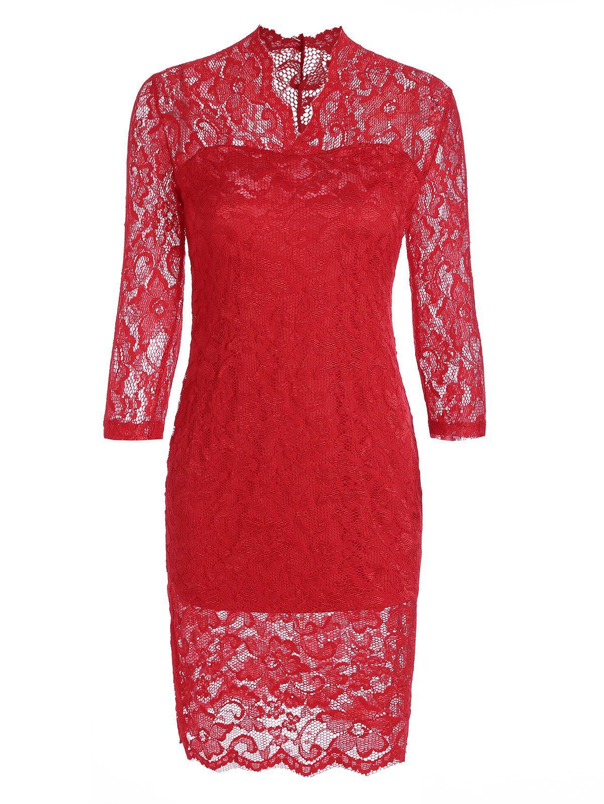 Sheath Lace Dress with V Neck - RED M