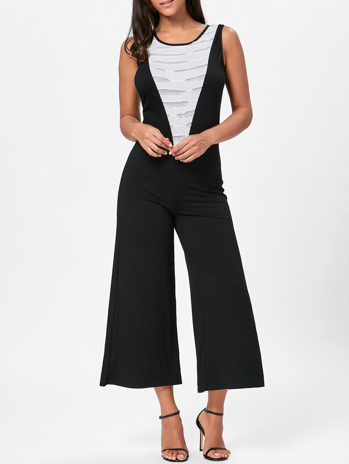 Sleeveless Two Tone Wide Leg Jumpsuit - WHITE/BLACK M