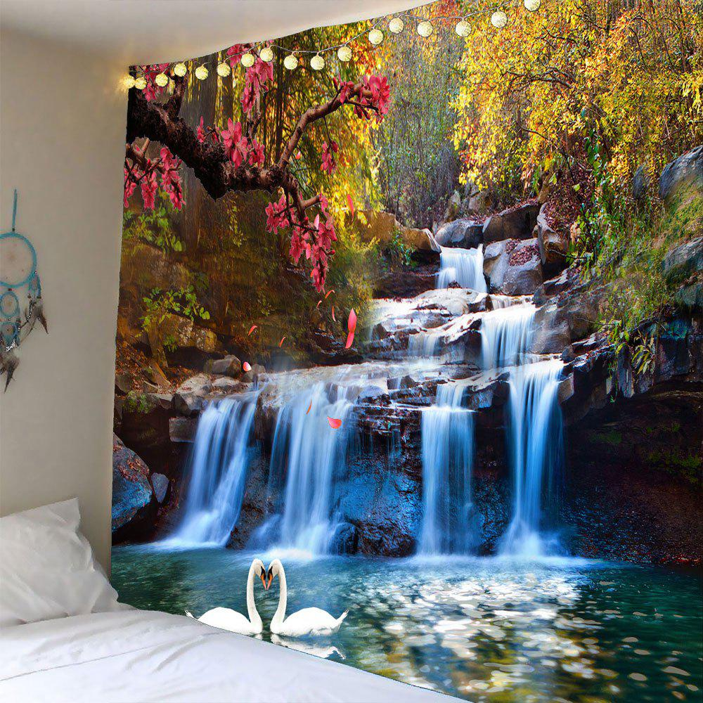 Waterproof Swans Cascade Trees Wall Tapestry the four swans