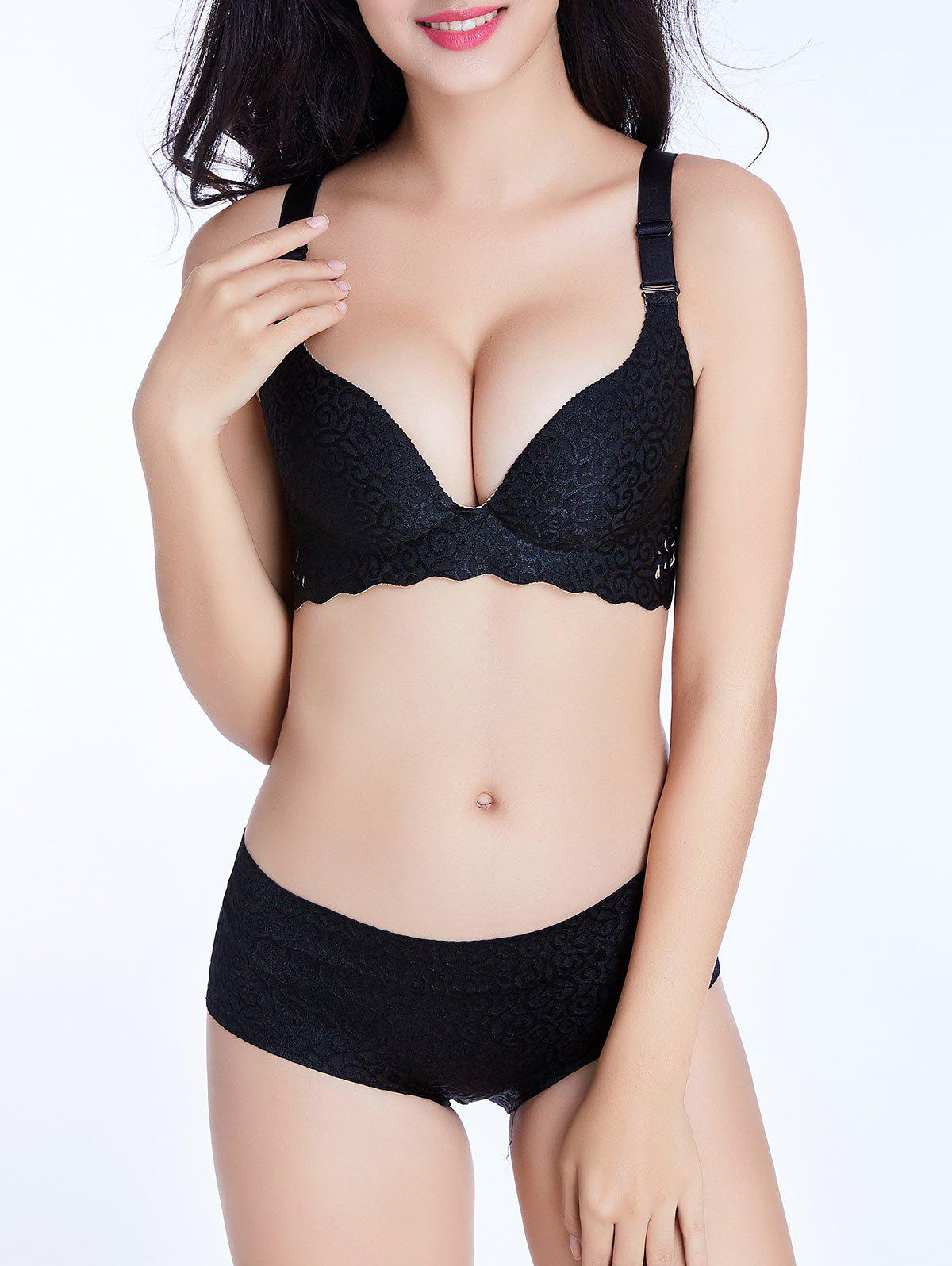 Seamless Jacquard Scalloped Trim Bra - BLACK 90D