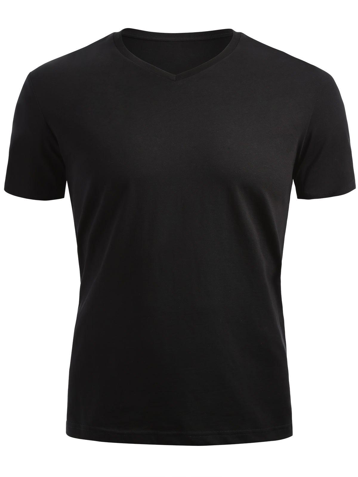 V Neck Short Sleeve T-shirt - BLACK M