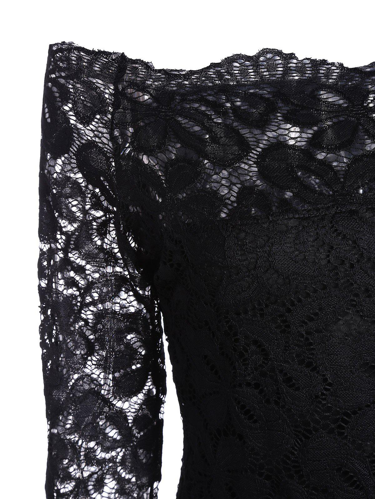 Off Shoulder Long Sleeve Lace Dress - BLACK L