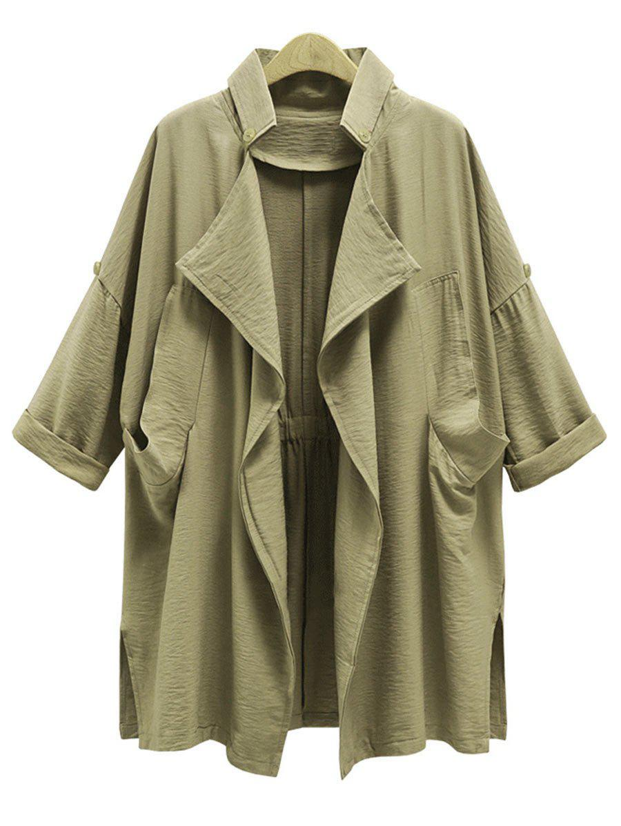 Drape Front Plus Size Trench Coat шапка topman topman to030cmyam27