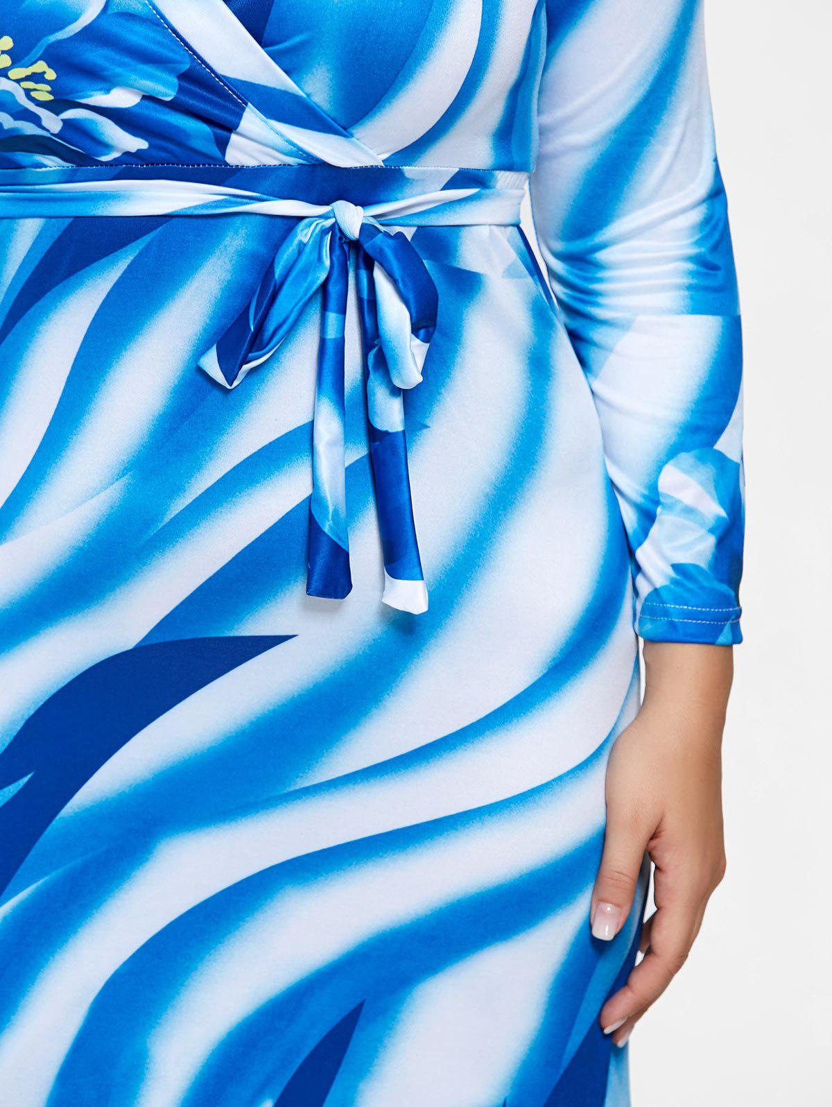 Plunging Neck Long Sleeve Plus Size Print Dress - BLUE 3XL