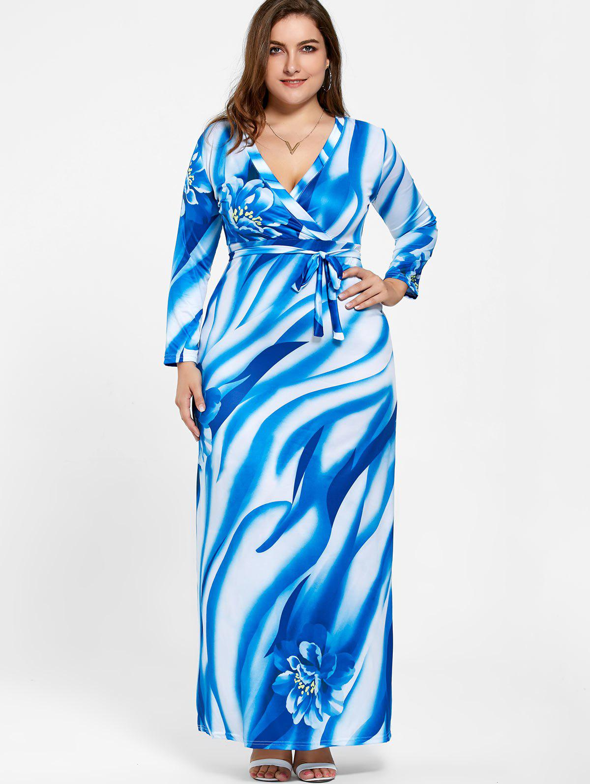 Plunging Neck Long Sleeve Plus Size Print Dress - BLUE 5XL