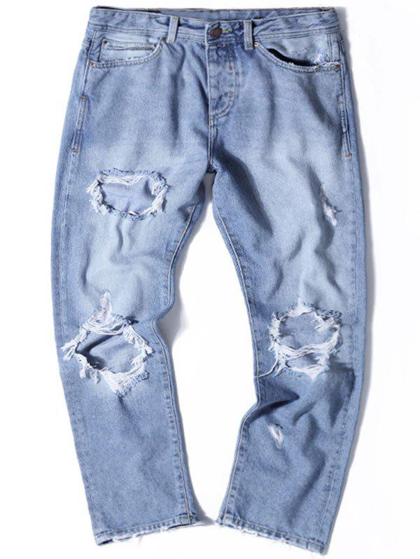 Straight Leg Light Wash Distressed Jeans - DENIM BLUE 32