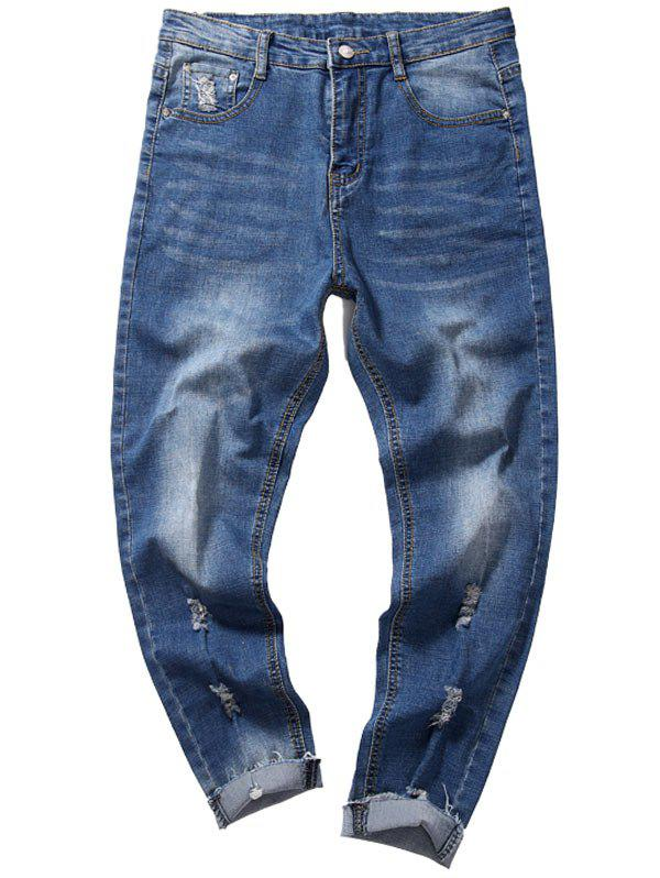 Taper Fit Destroyed Neuf Minutes of Jeans - Bleu Toile de Jean 38