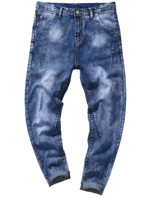 Taper Fit Zip Fly Tie Dye Jeans - Denim Bleu 34